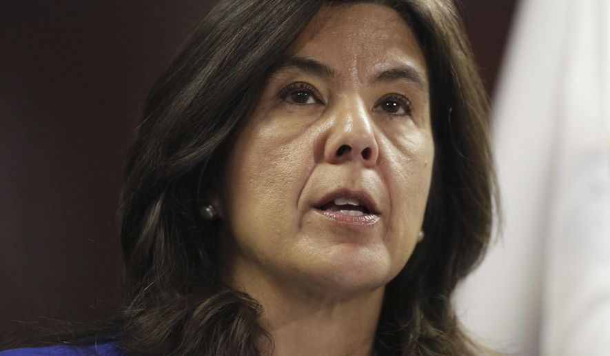 """Cook County State's Attorney Anita Alvarez speaks at a news conference Monday, April 20, 2015, in Chicago  announcing her office will no longer prosecute most misdemeanor marijuana possession cases, saying what prosecutors are doing now """"is simply not working."""" She says the count is spending too much money and time cycling offenders in and out of the system and offenders charged with a low-level marijuana felony will be routed to an alternative prosecution program. (AP Photo/M. Spencer Green)"""