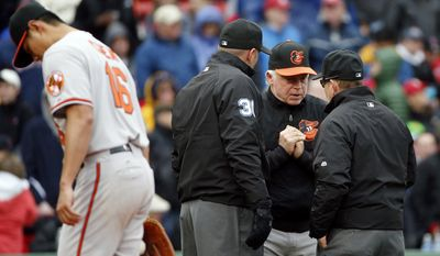 Baltimore Orioles manager Buck Showalter, second from right, argues a call near Orioles pitcher Wei-Yin Chen (16) during the third inning of a baseball game against the Boston Red Sox, Monday, April 20, 2015, in Boston. (AP Photo/Michael Dwyer)