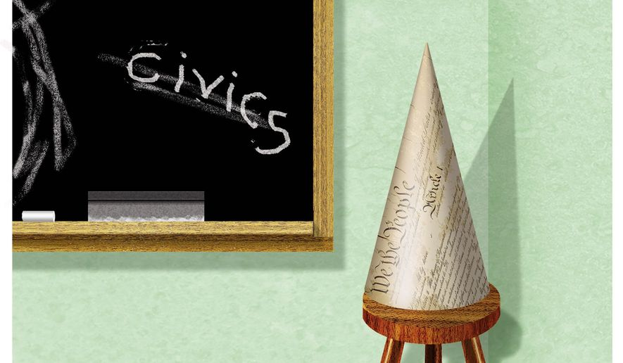 Illustration on failed civics education in the nation's schools by Alexander Hunter/The Washington Times