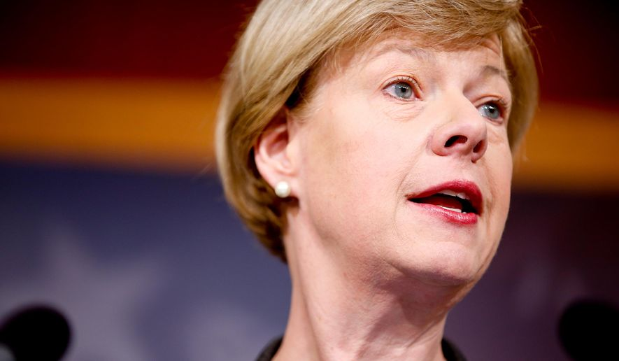 FILE - In the March 25, 2015 file photo, Sen. Tammy Baldwin speaks at a news conference in Washington. A former state director for Baldwin has filed an ethics complaint against the Wisconsin Democrat saying she placed blame about problems at a Department of Veterans Affairs medical center on her. (AP Photo/Andrew Harnik, File)
