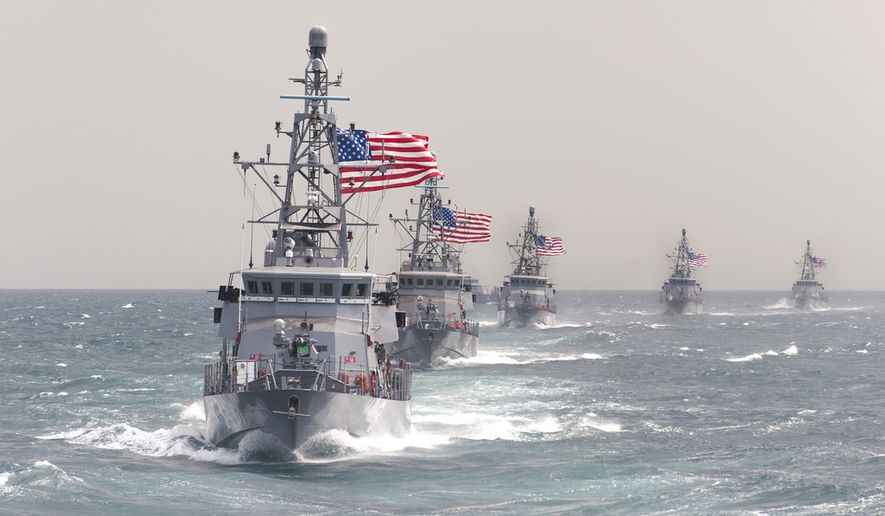 U.S. 5TH FLEET AREA OF RESPONSIBILITY (March 17, 2014) The Cyclone-class coastal patrol ship USS Hurricane (PC 3) leads other coastal patrol ships assigned to Patrol Coastal Squadron 1 (PCRON 1) in formation during a divisional tactics exercise. U.S. Navy photo.