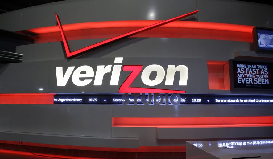This April 7, 2013, file photo shows the Verizon Studio booth at MetLife Stadium, in East Rutherford, N.J. (AP Photo/Mel Evans)