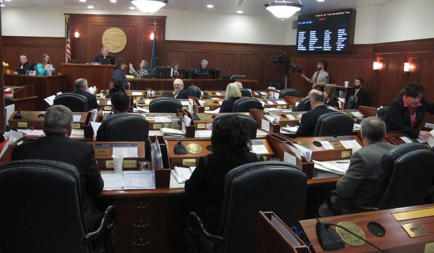 The Alaska House meets on what was scheduled to be the last day of the 90-day legislative session on Sunday, April 19, 2015, in Juneau, Alaska. (AP Photo/Becky Bohrer)