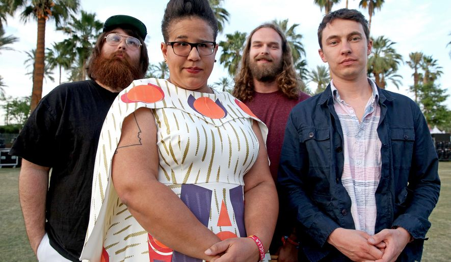"""In this April 10, 2015 file photo, Alabama Shakes, from left, Zac Cockrell, Brittany Howard, Steve Johnson and Heath Fogg pose for a portrait at the 2015 Coachella Music and Arts Festival in Indio, Calif. The band will release their latest album """"Sound & Color,"""" on Tuesday, April 21. (Photo by Rich Fury/Invision/AP)"""