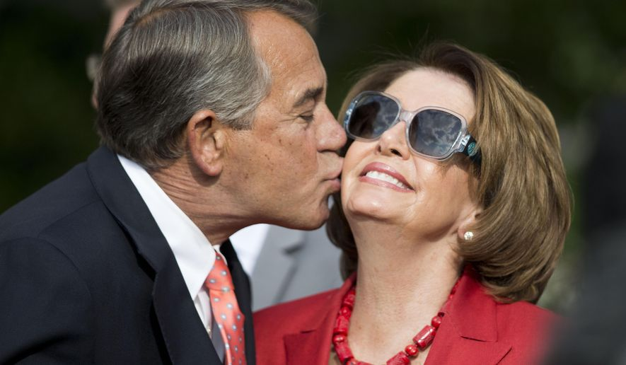 House Speaker John Boehner of Ohio, left, kisses House Minority Leader Nancy Pelosi of Calif., right, in the Rose Garden of the White House before President Barack Obama's remarks to members of Congress, Tuesday, April 21, 2015 in Washington. Obama thanked those who supported H.R. 2, the Medicare Access and CHIP Reauthorization Act of 2015 to improve the affordability and quality of health care for the youngest and oldest in the nation. (AP Photo/Pablo Martinez Monsivais)