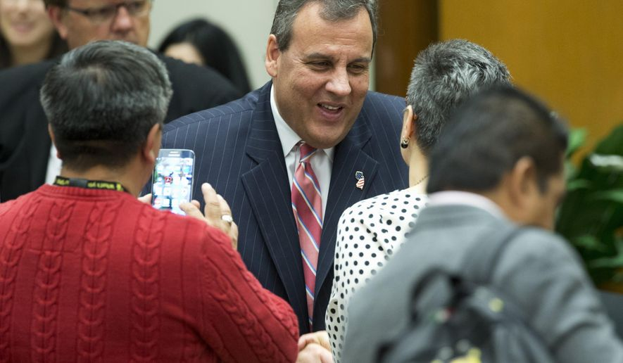 New Jersey Gov. Chris Christie greets attendees of the 45th Annual Washington Conference on the Americas, Tuesday, April 21, 2015, at the State Department in Washington.   (AP Photo/Manuel Balce Ceneta)