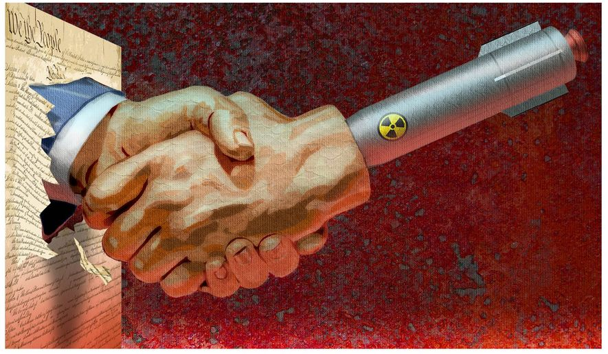 Illustration on the dangers and illegalities of the Iran nuclear deal by Alexander Hunter/The Washington Times