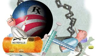 Illustration on the adverse impact of five years of Obamacare by Alexander Hunter/The Washington Times