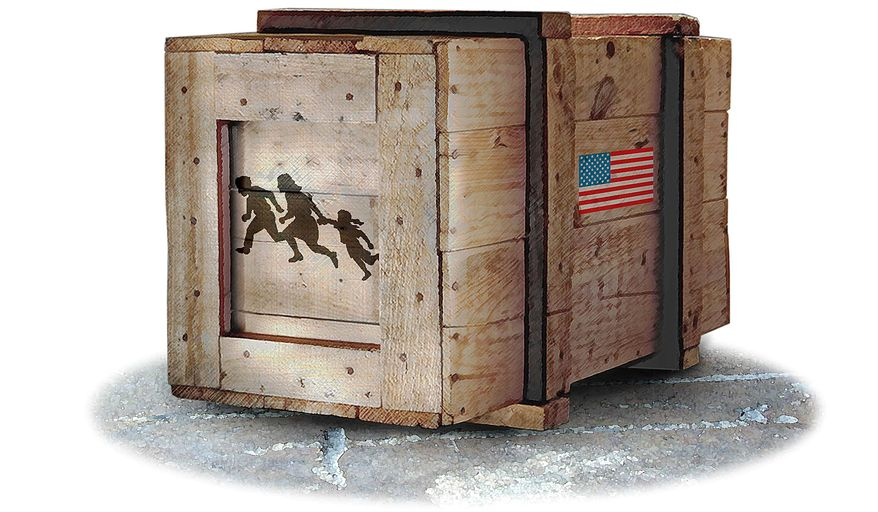 Mixing immigration and trade illustration by Greg Groesch/The Washington Times