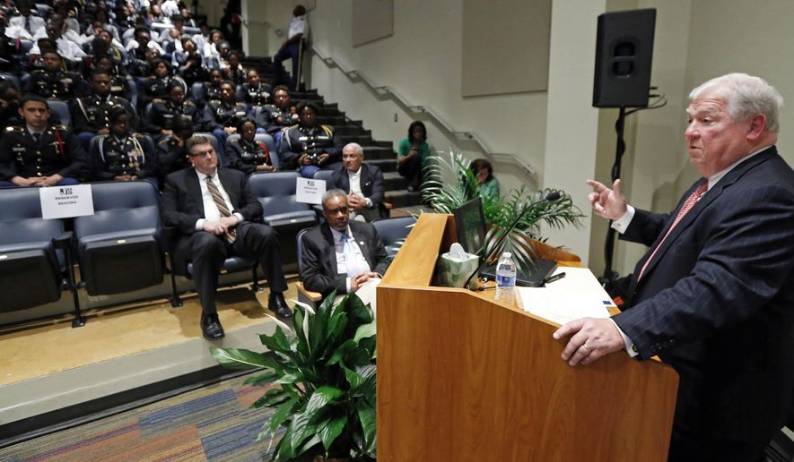 """Former Mississippi Gov. Haley Barbour tells a mostly black audience at Jackson State University in Jackson, Miss., that the state and nation would be better served with more racial diversity within the Democratic and Republican parties, Tuesday, April 21, 2015. Barbour, who was Republican National Committee chairman in the mid-1990s, says Mississippi does not need a white party and a black party. Instead, Barbour says: """"We need two salt-and-pepper parties."""" (AP Photo/Rogelio V. Solis)"""