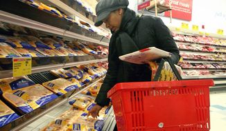 Carla Chery illustrates how she shops on a budget at her neighborhood supermarket in New York.  Ms. Chery, a stay-at-home mom who networks with other moms on her blog, says she uses coupons to keep her family of four fed on a tight food budget. Government regulations are hurting everyday people and wrecking family budgets. (AP Photos/Bebeto Matthews)