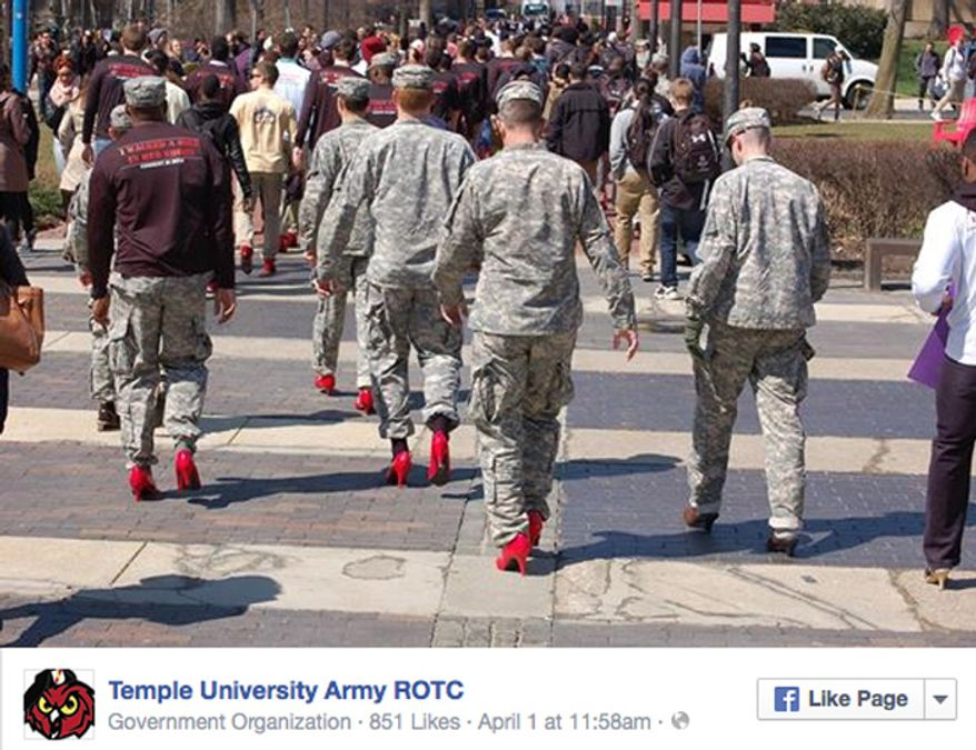 """ROTC cadets participate in a """"Walk a Mile in Her Shoes"""" event held at Temple University on April 1, 2015. (Image: Temple University Army ROTC)"""