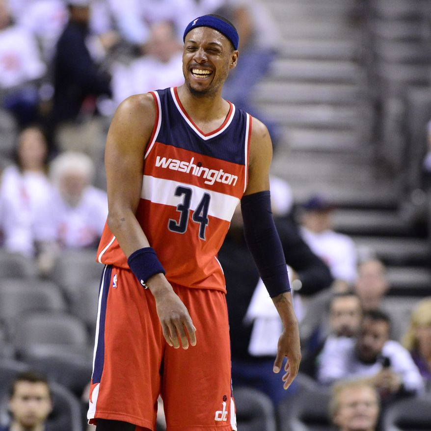 Washington Wizards' Paul Pierce smiles after defeating the Toronto Raptors in Game 2 in the first round of the NBA basketball playoffs, Tuesday, April 21, 2015,  in Toronto. (Frank Gunn/The Canadian Press via AP)  MANDATORY CREDIT
