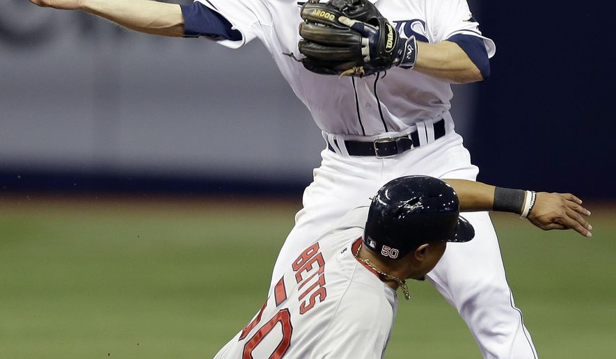 Tampa Bay Rays second baseman Ryan Brett forces Boston Red Sox's Mookie Betts at second base on a fielder's choice by Red Sox's Dustin Pedroia during the third inning of a baseball game Tuesday, April 21, 2015, in St. Petersburg, Fla. Brett made a throwing error on the play allowing Ryan Hanigan to score. (AP Photo/O'Meara)