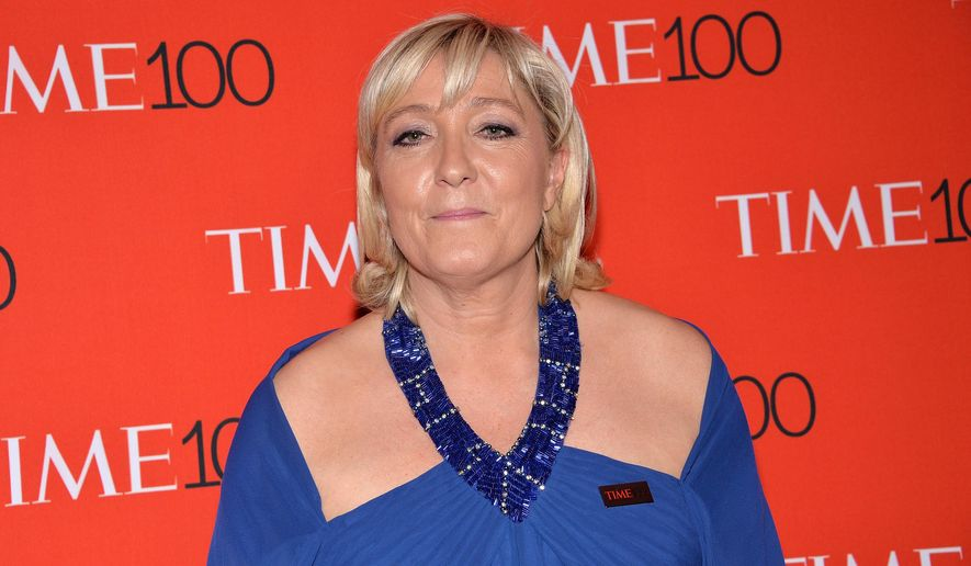 French politician and president of the National Front, Marine Le Pen, attends the TIME 100 Gala, celebrating the 100 most influential people in the world, at the Frederick P. Rose Hall, Time Warner Center on Tuesday, April 21, 2015, in New York. (Photo by Evan Agostini/Invision/AP)