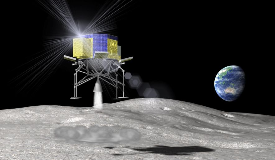 In this artist rendering released by the Japan Aerospace Exploration Agency, or JAXA, Monday, April 20, 2015, the space explorer named SLIM (Smart Lander for Investigating Moon) lands on the moon. Japan's space agency is considering an unmanned mission to the moon by 2018 or early 2019, part of an effort to beef up aerospace technology and keep pace with China and other emerging powers. The JAXA included the possibility of a lunar landing in the fiscal year that begins April 1, 2018, in its summary of moon exploration plans by Japan and other countries. (The Japan Aerospace Exploration Agency via AP)