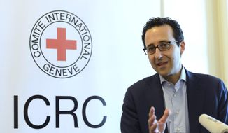 Head of ICRC Operations for the Middle East Robert Mardini speaks during a press conference on the humanitarian challenges in Yemen, at the International Red Cross, ICRC, headquarters in Geneva, Switzerland, Wednesday, April 22, 2015. (Martial Trezzini/Keystone via AP) ** FILE **