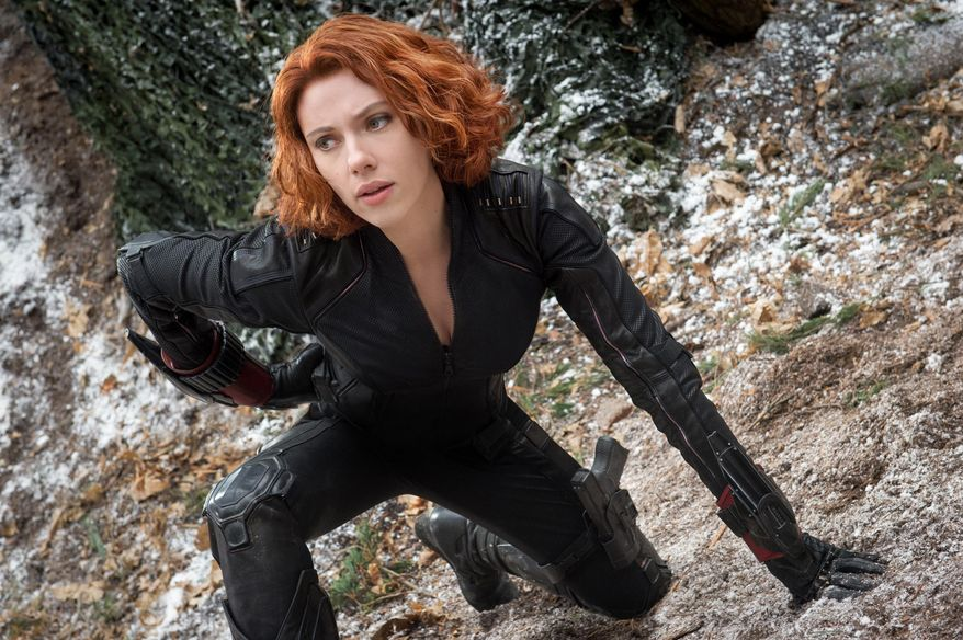 """Scarlett Johansson appears as Black Widow/Natasha Romanoff in the film, """"Avengers: Age Of Ultron."""" The movie releases in the U.S. on May 1, 2015.  (Jay Maidment/Disney/Marvel via AP) ** FILE **"""