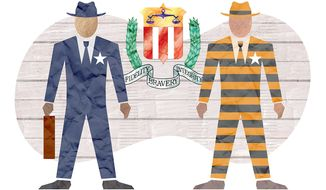 Illustration on criminal abuses within the FBI by Greg Groesch/The Washington Times