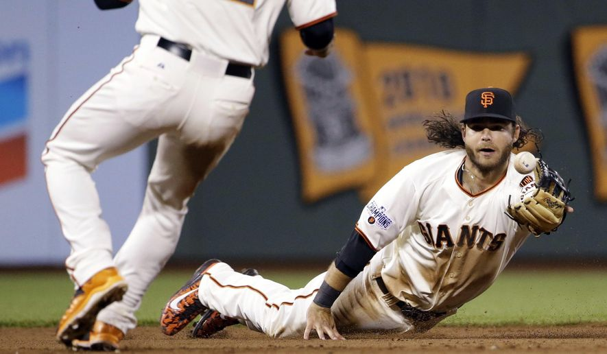 San Francisco Giants shortstop Brandon Crawford tosses the ball to second baseman Joe Panik to assist on a double play after a diving stop on a ground ball by Los Angeles Dodgers' Howie Kendrick during the sixth inning of a baseball game on Tuesday, April 21, 2015, in San Francisco. (AP Photo/Marcio Jose Sanchez)