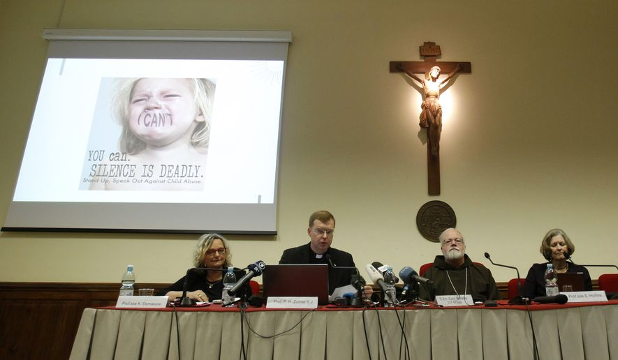 "From left, Karlijn Demasure, Executive Director of Centre for Child Protection, Father Hans Zollner, President of Centre for Child Protection, Cardinal Sean Patrick O'Malley and professor Sheila Baronessa Hollins attend a press conference at the Pontifical Gregorian University in Rome, Monday, Feb. 16, 2015. Pope Francis' point man on clerical sex abuse says the failure of the church to punish bishops who covered up for pedophiles has seriously hurt its credibility and that the church must now lead the way by ""humbly making the commitment to accountability, transparency and zero tolerance."" Cardinal Sean O'Malley said canon lawyers and theologians were reviewing proposals for the pope on holding bishops accountable that were developed by Francis' commission of experts, which he chairs and includes two abuse survivors. (AP Photo/Isabella Bonotto)"