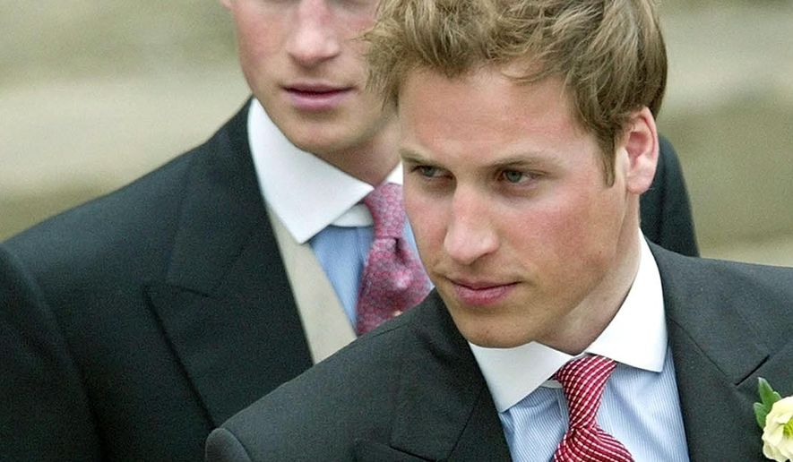 FILE - This is a April 9, 2005  file photo of Britain's Prince William, and Prince Harry, left, after the civil wedding ceremony of their father Britain's Prince Charles and his wife Camilla, the Duchess of Cornwall, at the Guildhall in Windsor, England. Prince Harry the second son of Prince Charles and Diana, Harry is often seen as the mischievous one, the fun-loving counterpart to the more staid _ some say dull _ William.  (AP Photo/Dave Caulkin, File)