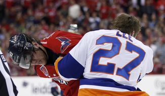 Washington Capitals right wing Tom Wilson (43) and New York Islanders center Anders Lee (27) fight during the first period of Game 5 in the first round of the NHL hockey Stanley Cup playoffs, Thursday, April 23, 2015, in Washington. (AP Photo/Alex Brandon)