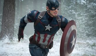 """This photo provided by Disney/Marvel shows, Chris Evans as Captain America/Steve Rogers, in the new film, """"Avengers: Age Of Ultron."""" The movie releases in U.S. theaters on May 1, 2015. (Jay Maidment/Disney/Marvel via AP)"""