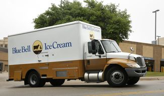 A Blue Bell Ice Cream truck stops at Walgreens in Dallas on Thursday morning, April 23, 2015. Texas-based Blue Bell Creameries recalled all its products this week after listeria was found in a variety of the company's frozen treats. Listeria is a hearty bacteria found in soil and water that can be tracked into a plant or carried by animals. (David Woo/The Dallas Morning News via AP)