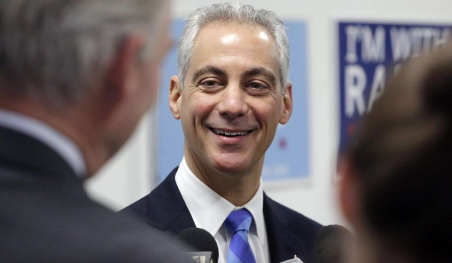 File- This April 6, 2015, file photo shows Chicago Mayor Rahm Emanuel talking to reporters at a campaign office, in Chicago. Emanuel says legislation beefing up Chicago's legal grounds to use public park land as potential sites for Barack Obama's presidential library and George Lucas' proposed museum will benefit residents and visitors for generations to come. (AP Photo/M. Spencer Green, File)