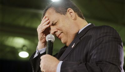 New Jersey Gov. Chris Christie reacts after he thought it was Wednesday and the crowd corrected him as he addressed a gathering during a town hall meeting in Cedar Grove, N.J., on April 23, 2015. (Associated Press) **FILE**