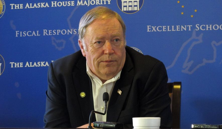 House Speaker Mike Chenault addresses reporters as the extended legislative session continued on Friday, April 24, 2015, in Juneau, Alaska. (AP Photo/Becky Bohrer)