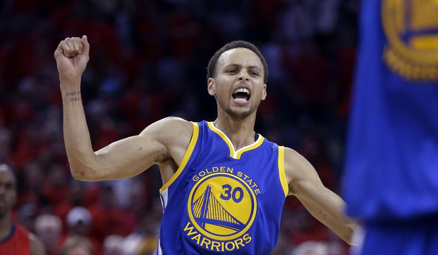 Golden State Warriors guard Stephen Curry celebrates the Warriors' 123-119 overtime victory over the New Orleans Pelicans in Game 3 of a first-round NBA basketball playoff series in New Orleans, Thursday, April 23, 2015. The Warriors took a 3-0 lead in the best-of-seven series. (AP Photo/Gerald Herbert)