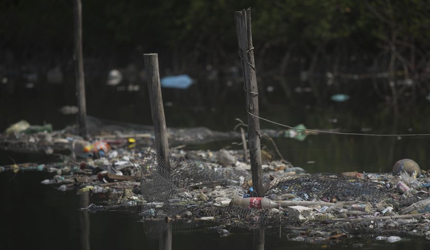 """FILE - In this Feb. 28, 2015 file photo, trash floats on the water along a fence line in the Guanabara Bay in Rio de Janeiro, Brazil. The world governing body of sailing threaten Friday, April 24, 2015, to move events for the Rio 2016 Olympics out of the city's polluted Guanabara Bay unless """"a whole lot more is done very quickly"""" to clear the venue of floating debris and sewage. (AP Photo/Leo Correa, File)"""