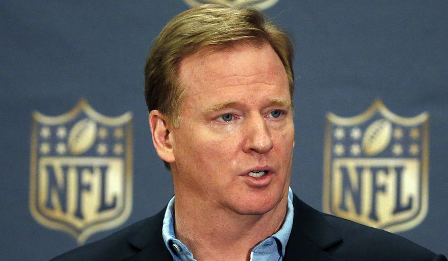 NFL Commissioner Roger Goodell addresses the media at a news conference at the NFL Annual Meeting in Phoenix on March 25, 2015. (Associated Press) **FILE**