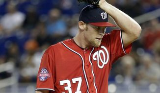 Washington Nationals starting pitcher Stephen Strasburg prepares to deliver in the first inning of a baseball game against the Miami Marlins, Saturday, April 25, 2015, in Miami. (AP Photo/Lynne Sladky)