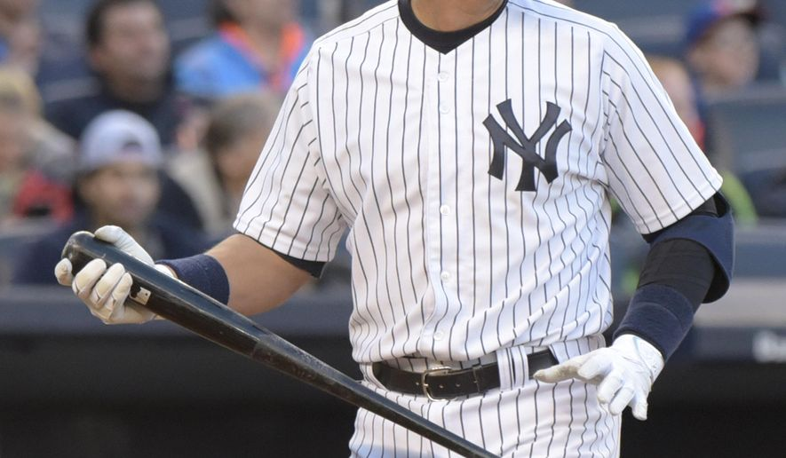 New York Yankees' Alex Rodriguez walks off after striking out in the ninth inning of an interleague baseball game against the New York Mets Saturday, April 25, 2015, at Yankee Stadium in New York. The Mets won 8-2. (AP Photo/Bill Kostroun)