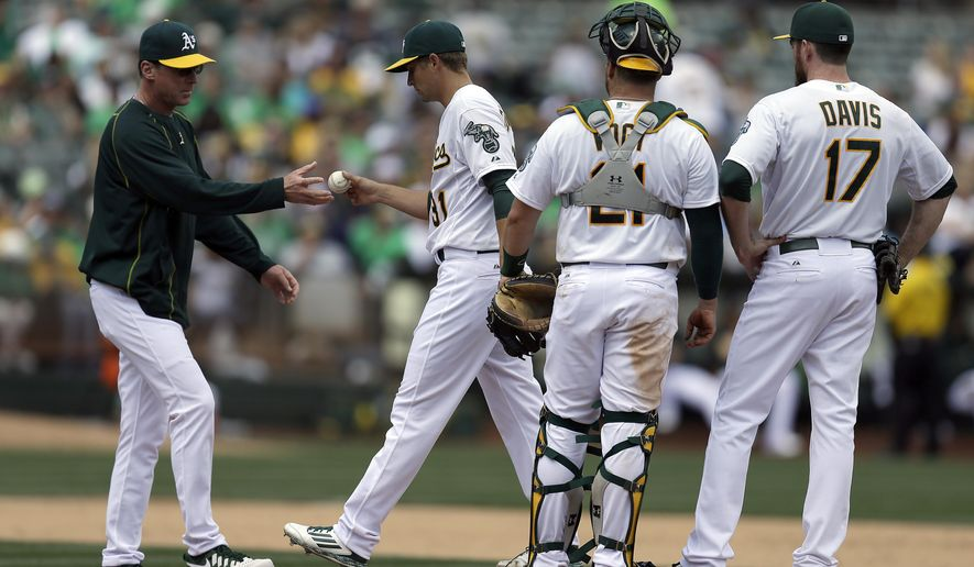 Oakland Athletics pitcher Kendall Graveman, second from left, hands the ball to manager Bob Melvin as he is removed from the baseball game against the Houston Astros in the fifth inning Saturday, April 25, 2015, in Oakland, Calif. At right are A's Stephen Vogt (21), and Ike Davis (17). (AP Photo/Ben Margot)