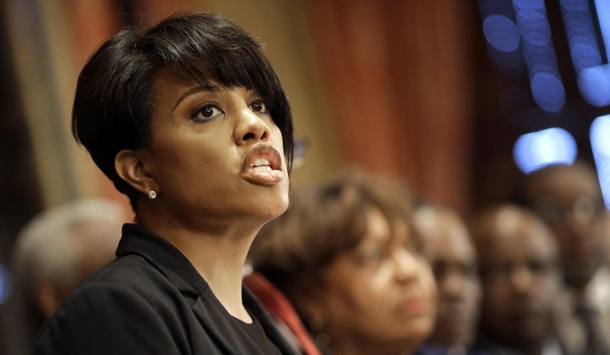 Baltimore Mayor Stephanie Rawlings-Blake speaks in front of local faith leaders at a news conference regarding the death of Freddie Gray, Friday, April 24, 2015, in Baltimore. (AP Photo/Patrick Semansky) ** FILE **