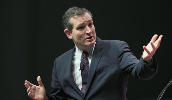Republican Presidential candidate Sen. Ted Cruz, R-Texas, speaks at the Iowa Faith & Freedom 15th Annual Spring Kick Off, in Waukee, Iowa, Saturday, April 25, 2015. (AP Photo/Nati Harnik) ** FILE **
