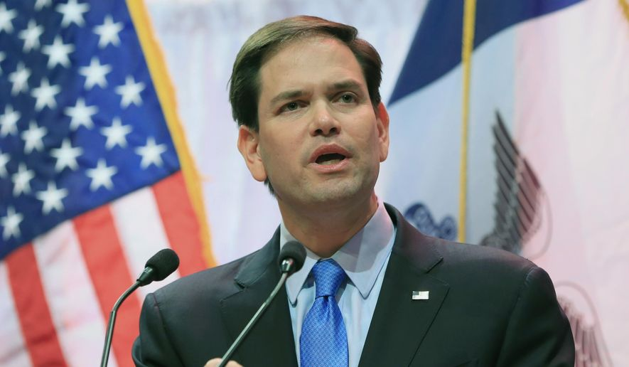 Republican presidential hopeful Sen. Marco Rubio, R-Fla., speaks at the Iowa Faith & Freedom 15th Annual Spring Kick Off, in Waukee, Iowa, Saturday, April 25, 2015. (AP Photo/Nati Harnik) ** FILE **