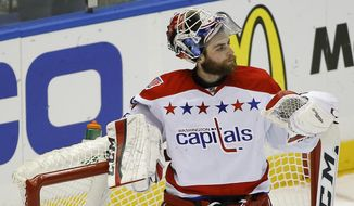 Washington Capitals goalie Braden Holtby (70) reacts after the New York Islanders scored during the first period in Game 6 in the first round of the NHL hockey Stanley Cup playoffs, Saturday, April 25, 2015, in Uniondale, N.Y. (AP Photo/Julie Jacobson)