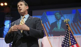 Former Pennsylvania Sen. Rick Santorum speaks at the Iowa Faith & Freedom 15th Annual Spring Kick Off, in Waukee, Iowa, Saturday, April 25, 2015. (AP Photo/Nati Harnik)