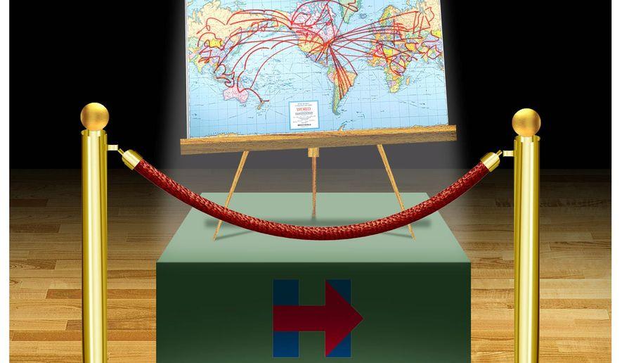 Illustration on Hillary Clinton's achievements by Alexander Hunter/The Washington Times