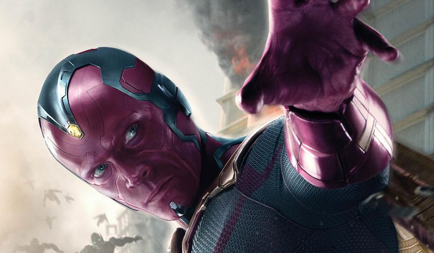"Paul Bettany appears as Vision, an AI robot, in ""Avengers: Age of Ultron."" (Disney/Marvel via AP)"