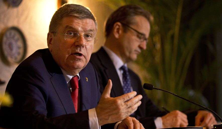 International Olympic Committee president Thomas Bach, addresses journalists at a press conference in New Delhi, India, Monday, April 27, 2015. Bach has dismissed speculation that India was planning to bid for the 2024 Olympic Games but said that it was a possibility at a later point in time. (AP Photo/Saurabh Das)