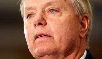 Possible 2016 presidential candidate U.S. Sen. Lindsey Graham, R-S.C., speaks at the Republican Leadership Summit Saturday, April 18, 2015, in Nashua, N.H. (AP Photo/Jim Cole)