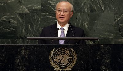 International Atomic Energy Agency (IAEA) Director General Yukiya Amano, of Japan, addresses the 2015 Nuclear Nonproliferation Treaty (NPT) review conference, in the United Nations General Assembly, Monday, April 27, 2015. (AP Photo/Richard Drew)