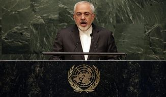 Iran's Foreign Minister Mohammad Javad Zarif addresses the 2015 Nuclear Nonproliferation Treaty (NPT) review conference, in the United Nations General Assembly, Monday, April 27, 2015. (AP Photo/Richard Drew)