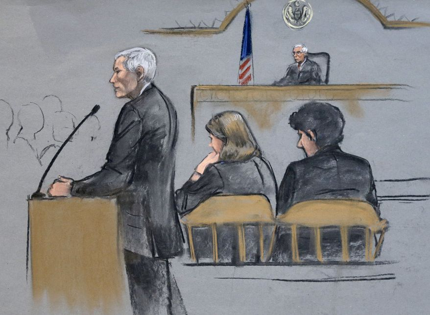 In this courtroom sketch, defense attorney David Bruck addresses the jury during the penalty phase in the trial of Dzhokhar Tsarnaev, seated at right, on Monday, April 27, 2015, in federal court in Boston. Tsarnaev, 21, was convicted in the twin bombings that killed three spectators and wounded more than 260 other people near the finish line of the Boston Marathon on April 15, 2013. He was also convicted of killing an MIT police officer during the getaway attempt with his brother. (Jane Flavell Collins via AP)